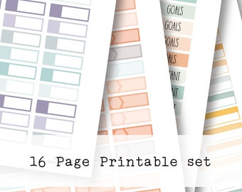 Inkwell Press Planner & other planners Quarter Boxes Printable Sticker Kit - Instant Download