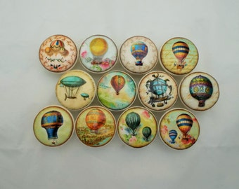 "Set of 12 Hot Air Balloon Print 1.5"" Dresser Drawer Knobs"