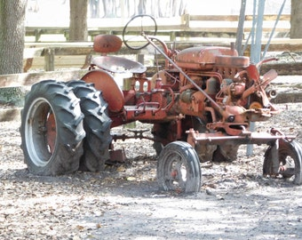 Red Antique Tractor Photograph