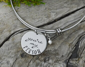 You're My Person Adjustable Bangle Bracelet - Stacking Bangle