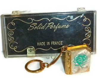 Mini Solid PERFUME Compact Miniature BOOK Keychain Vintage Mother of Pearl Locket 50s French Fragrance KeyRing Jewelry Floral Valentine Gift