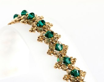 Emerald Green Crystal Bracelet - Beadwoven Bracelet with Emerald Green Crystals, Gold Fire Polished Beads & Seed Beads - Seed Bead Jewelry