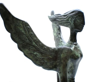 Goddess of Victory , Bronze Sculpture Greek Nike, Metal Art,Bronze statue of Goddess, Greek History and mythology , Metal sculpture