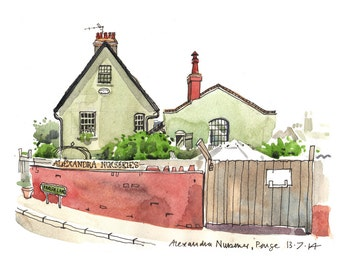 Alexandra Nurseries, Penge, London - a print made from my sketchbook drawing