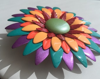 Vintage multi colored flower power pin