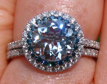 Aquamarine Wedding Set, Aquamarine Engagement Ring and Wedding Band, White Gold Diamond Halo Engagement Ring with Blue Diamonds