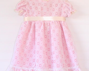 Antique baby dress. Baby Pink dress with cream overlay, no name sized for 9 Mo