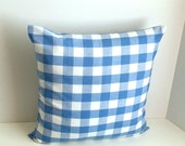 """16"""" x 16"""" Medium Blue & White 1"""" Check Envelope Style Pillow Cover (light weight fabric)"""