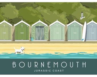 BOURNEMOUTH BEACH HUTS. Art Deco style print of beach huts in Bournemouth, Dorset. A4, A3, A2 in Retro, Art Deco style design