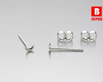 925 Sterling Silver Earrings, Tiny Moon Earrings, Stud Earrings (Code : K08)