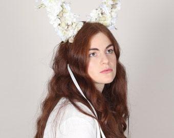 Petal Rabbit Ears, Flower Adorned Rabbit Ears, White Rabbit Ears
