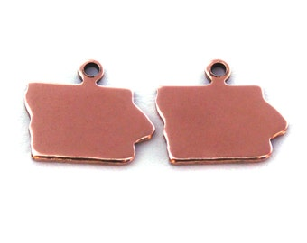 2x Rose Gold Plated Blank Iowa State Charms - M132-IA