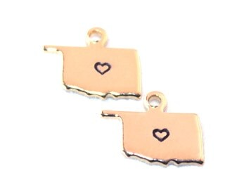 2x Gold Plated Oklahoma State Charms w/ Hearts - M115/H-OK