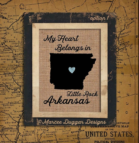 Arkansas Personalized State Burlap Print | Housewarming Gift | Latitude | Longitude | GPS | USA | Family Name | USA_004