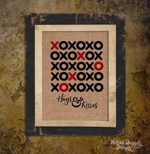 Hugs and Kisses | xoxoxo | Hearts and Love | Valentine's Day Gift | Personalize | 8x10 | #0149