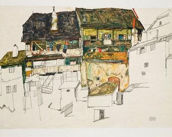 EGON SCHIELE - 'Old houses in Krumau' - vintage offset lithograph - c1950 (Osterreichische Staatsdruckerei, Vienna. Gustav Klimt Int)