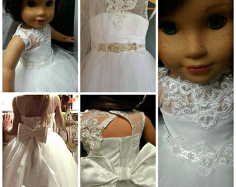 18 inch doll communion  dress with veil wedding ,flower girl ,made to match yours dolly and me