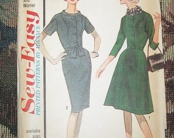 Sew Easy Pattern By Advance, Dress Pattern #3298, 1960's Vintage Pattern, Slim Skirt Or Flared Skirt, size 16, Vintage  Clothing