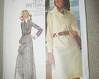 "Simplicity Pattern #5151, Dress Pattern In Two Lengths, ""How To Sew"" Pattern, Size Misses 14, Long Sleeved, Copyright 1972, Vintage Pattern"