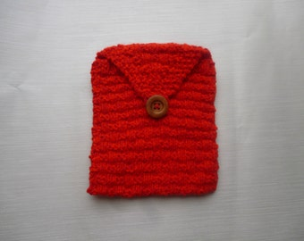 red knitted tablet cover, device cover, tablet case, chunky cover