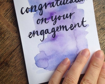 Original hand-painted watercolour 'congratulations on your engagement' greetings card
