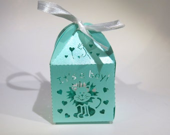 "20pc ""turquoise lion"" baby shower favor boxes (D14)"