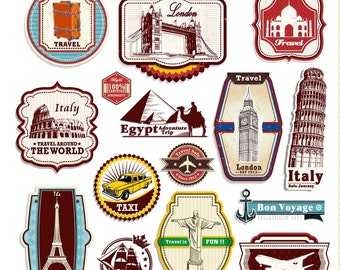 15 Retro Vintage Style Travel Suitcase Luggage Stickers