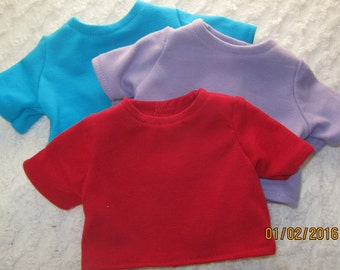 Ready to Ship, 15 or 18 inch doll shirts, bitty baby, american girl, set of 3