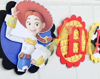 Jessie Birthday Banner , Jessie Theme Birthday banner, Toystory Birthday banner