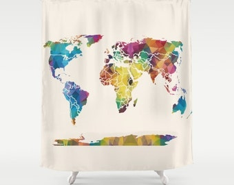 Geometric Map Shower Curtain - Geometric Rainbow Map - Home Decor - Bathroom - blue, red, purple, yellow beige, colorful