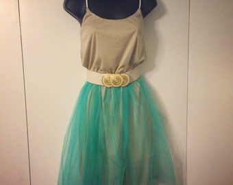 Girls spring dress: taupe/ turquoise