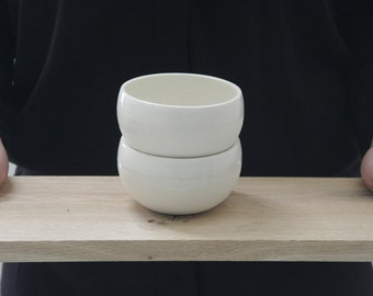 Ceramic bowl in white  with clear glossy glaze. Modern ceramic bowl, Dipping bowl, jewllery bowl