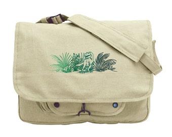 Rex Dinosaur Embroidered Canvas Messenger Bag