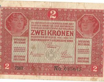 Antique Austro- Hungarian 2 korona Banknote 1917 Vintage Authentic.