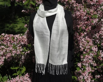 Home-grown hand-reeled handwoven Huck lace white 100%  silk scarf