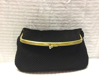 Fold Over Clutch Purse, Black Formal Clutch Handbag, Kiss Lock