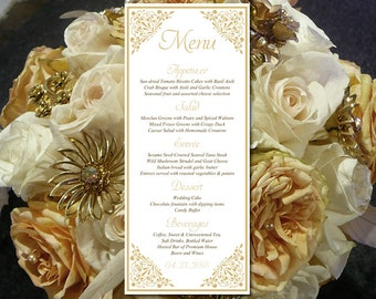 "Printable Wedding Menu Template - Entree Card Gold Menu Card Wedding Reception Menu ""Madison"" Tea Length Menu Printable - DIY Menu Template"