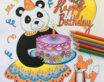 birthday card coloring pages for adults adult colouring book panda print panda