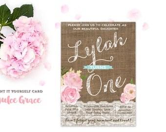 1st birthday invitation, 4th 5th 6th 7th 8th 9th 10th 11th 12th, pink mint invite, girl birthday party, any age birthday invite, printable
