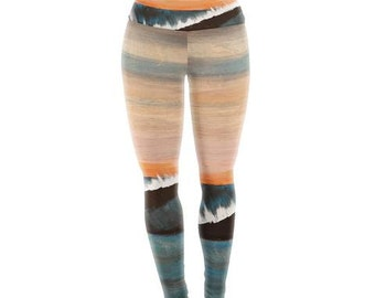 "Yoga Leggings - Blue Orange Waves Nathan Gibbs ""Clean Slate"" NG1009A Great Gift Idea!"