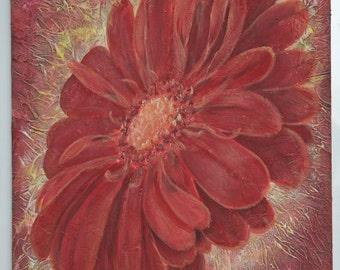Gerbera Flower Art  Acrilic Painting  wall decor Original