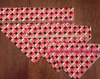 Custom Made Over the Collar Bling Dog Bandanna, Dog Scarf, Hearts Valentine