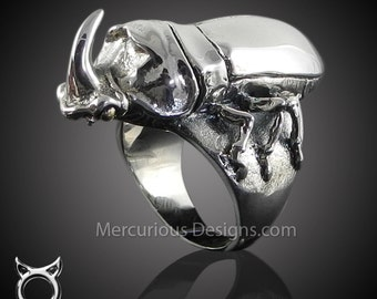 Rhino Beetle Ring Sterling Silver 925 Mercurious