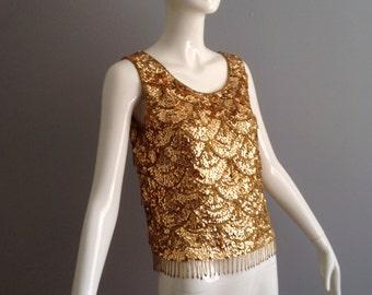 Vintage 50s Metallic Gold Sequin Tank ~ Beaded Fringe Art Deco Shell ~ Formal Retro Top