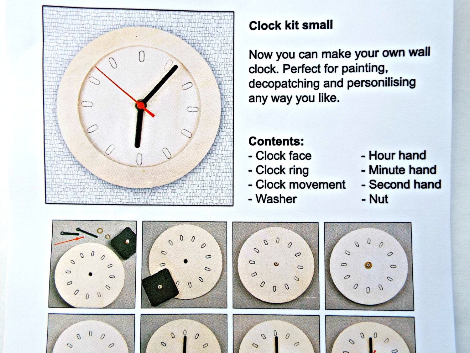 Clock kit wooden clock diy clock round clock face 6 inch clock 717 shipping amipublicfo Image collections