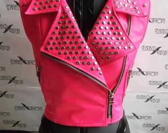 Pink studded Genuine Leather Vest