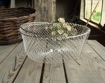 Collapsible Basket - Vintage Wire Basket - French Metallic Bowl - Egg Wire Basket - Made in France - French Countryside - Home Cottage Decor