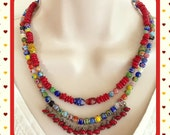Millefiori and Red Coral Necklace and Earrings set Handmade with 2 strands of colorful beads in Reds, Yellows, Blues, Greens, dangle style