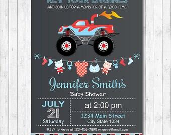 Monster truck Baby Shower Invitation, Monster truck Baby Shower invite, Baby Boy Invitation, printable