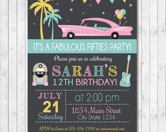 Fifties Birthday Invitation, 50s Invite, Fifties Party, Fabulous 50's Invitation, chalkboard, Digital Printable File